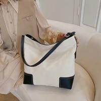 high quality ladies canvas contrast color large capacity handbag 2021 net red new female bag shoulder messenger bag female