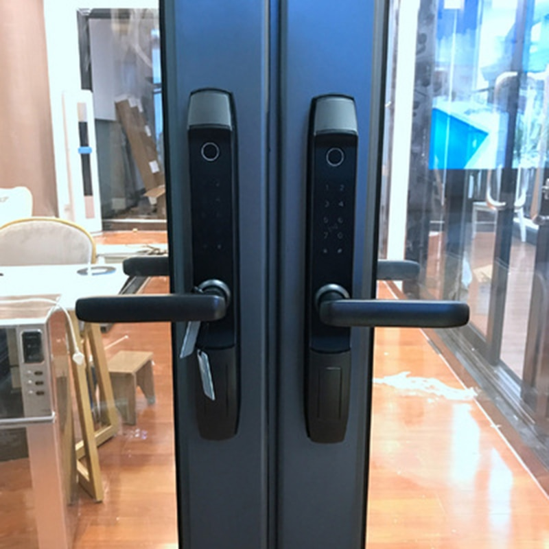 TUYA WIFI Mobile Phone Unlock Keyless Fingerprint Magnetic Card Password Outdoor Home Electric Deadbolt Smart Iron Door Lock
