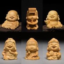 5cm petit bouddha Maitreya mignon bouddha buis sculpté voiture petit pendentif voiture décoré le bouddha