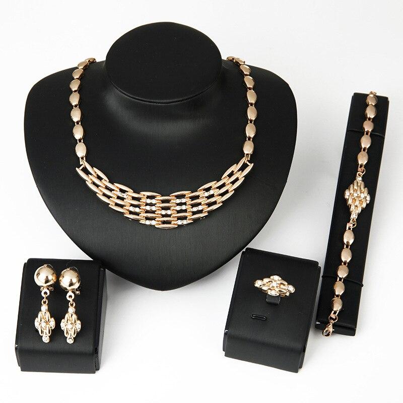 Hc conjunto de colar de cristal nigeriano noiva conjunto de jóias de metal grânulos africanos pingente colar brincos pulseiras anéis para womenf