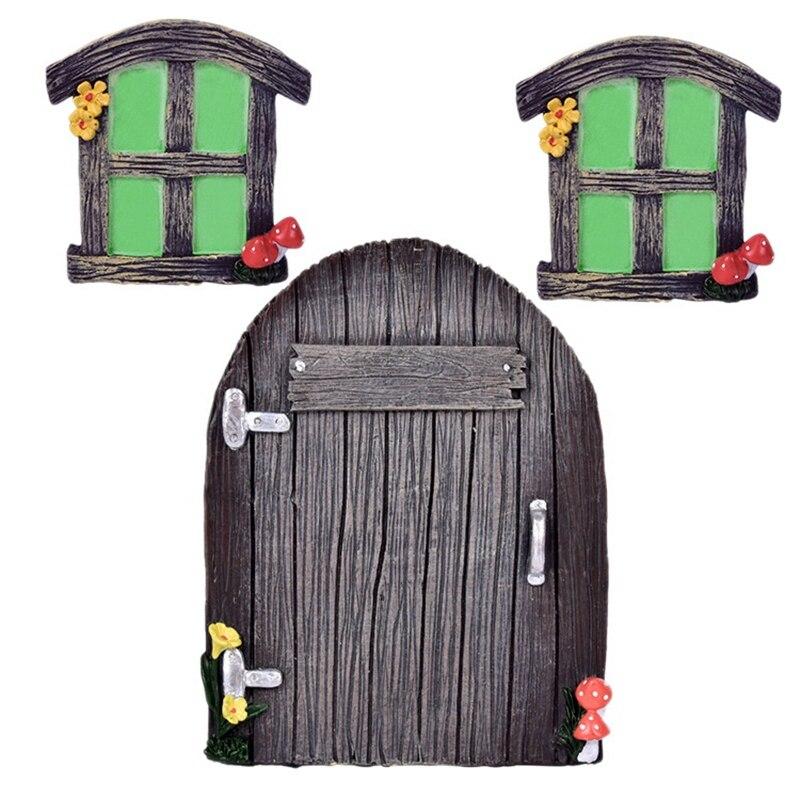 3Pcs Miniature Fairy Home Windows and Door Glowing in the Dark Fairy Garden Door Windows Ornaments F