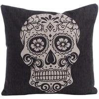 huacel throw pillow case cotton linen square decorative throw pillow case cushion cover 18 x 18 black skull