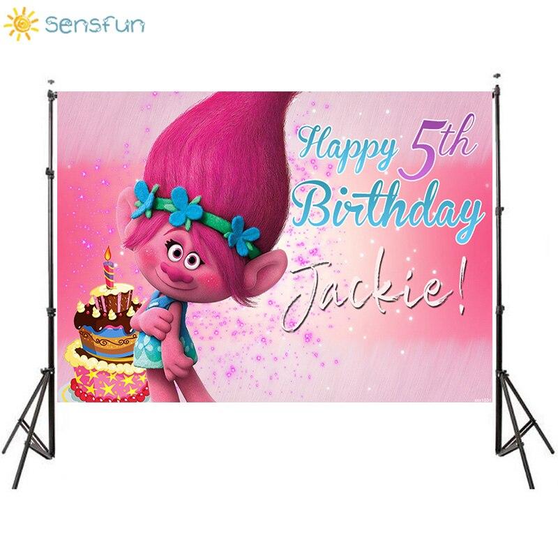 Sensfun dessin animé Trolls fête photographie toile de fond gâteau filles arrière-plans danniversaire pour Studio Photo vinyle bannière Photocall 7x5FT