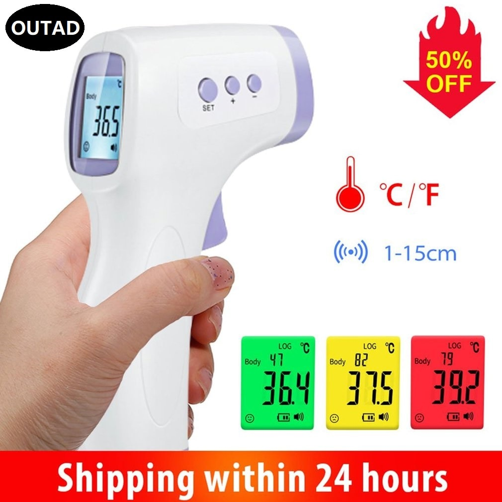 OUTAD Digital Infrared Thermometer Forehead Ear Non-Contact medical Termometro LCD Body Fever Baby/A