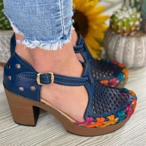 Summer Women's Sandals Fashion Vintage Square Heeled Sandals Chunky Heels Hollow Out National Characteristics Sandalias Mujer
