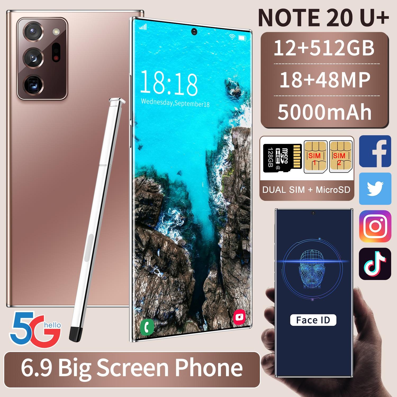 Смартфон глобальная версия Galxy Note20U +, 12 Гб, 512 ГБ, 6,9 дюйма, 5000 мАч, Android 10,0, Snapdragon 865, сотовый телефон 4G5G, Note20, новые телефоны