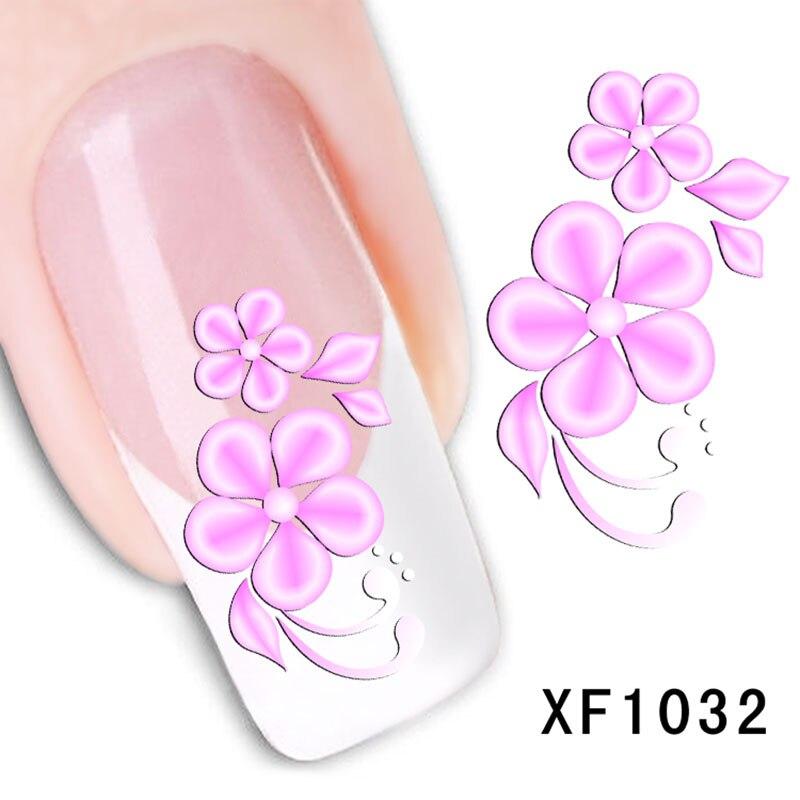 Ultra fino etiqueta da arte do prego tamanho pequeno borboleta crisântemo roxo rosa vermelho rosa longa duração 3d francês prego adesivo xf002