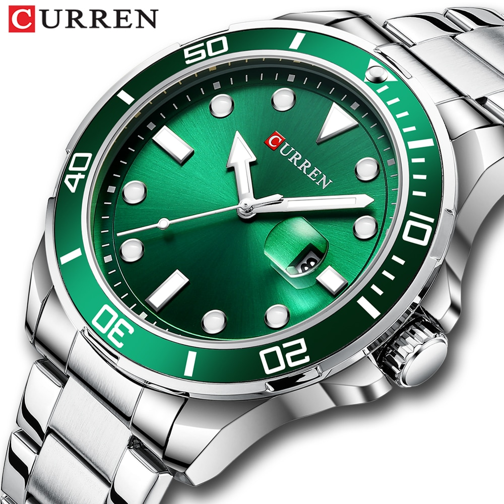 CURREN-ساعة يد رجالية ، كوارتز ، ستانلس ستيل ، أخضر ، عصري