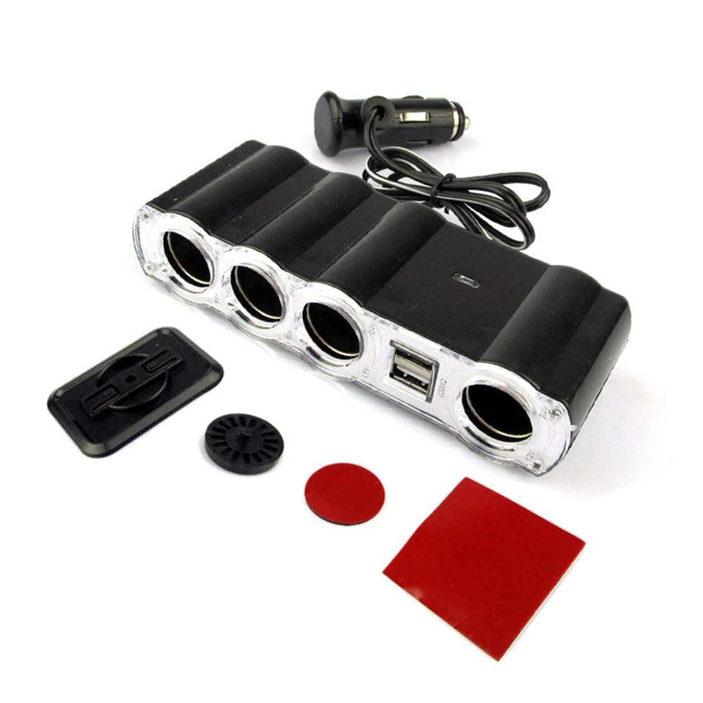 Multi enchufe portátil 4 puertos en 1 divisor de encendedor de cigarrillos de coche adaptador de enchufe para cargador USB