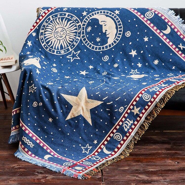 Ohcual-بطانية بوهيمية على الوجهين ، منشفة أريكة محبوكة ، غطاء سرير ، نسيج شمالي ، XT11