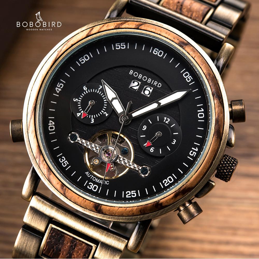 بوبو الطيور الساعات الخشبية للرجال التلقائي الميكانيكية ساعة السيارات تاريخ عرض الذكور ساعة اليد ساعة يد رياضية هدية