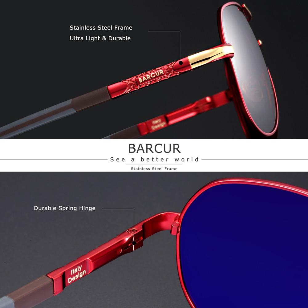 BARCUR Aluminum Vintage Men's Sunglasses Men Polarized Coating Classic Sun Glasses Women Shade Male Driving Accessories Eyewear