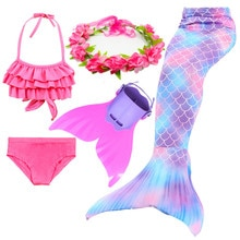 4 pièces filles queue De sirène pour natation Costumes enfants enfants Zeemeerminstaart Cola De Sirena Cauda De Sereia Cosplay étincelle