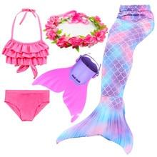 4 peças meninas sereia cauda para trajes de natação crianças crianças zeemeerminstaart cola de sirena cauda da sereia cosplay faísca