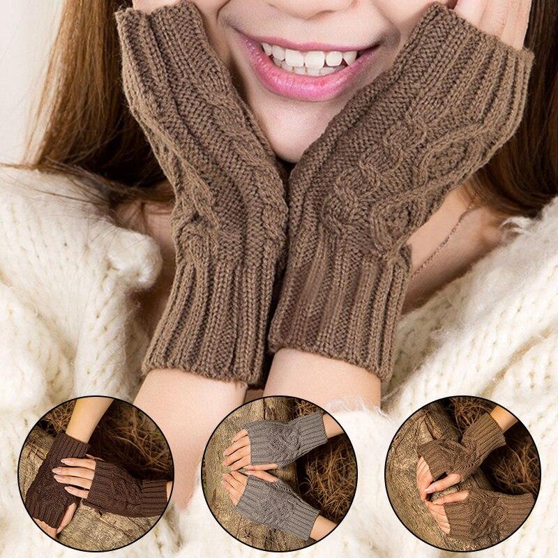 1 пара однотонных женских аксессуаров, вязаные рукавицы с геометрическим рисунком на запястье, полуперчатки, элегантные высококачественны...
