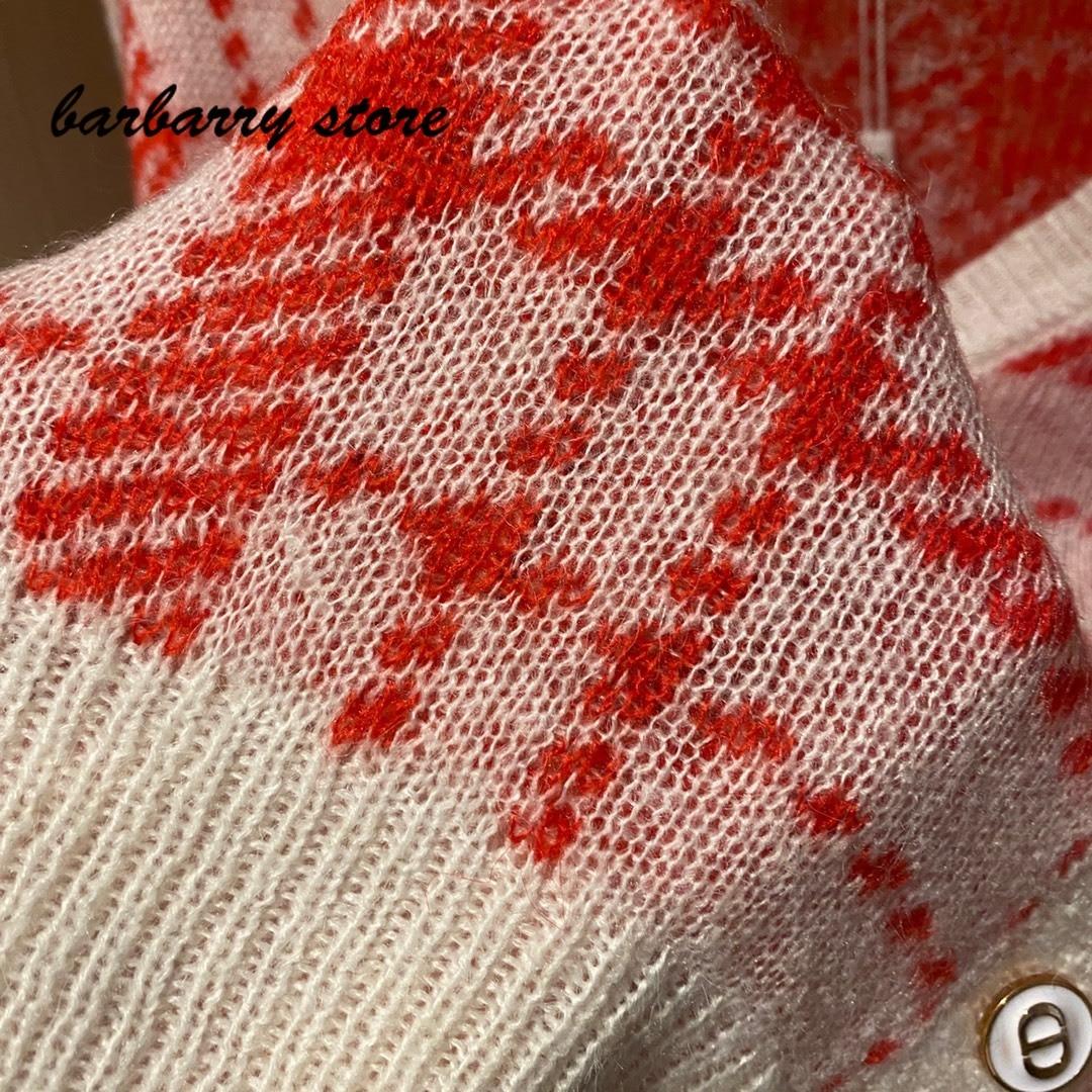 luxury design high-end classic lattice contrast fashion long sleeve cardigan temperament versatile V-neck knitted coat sweater enlarge