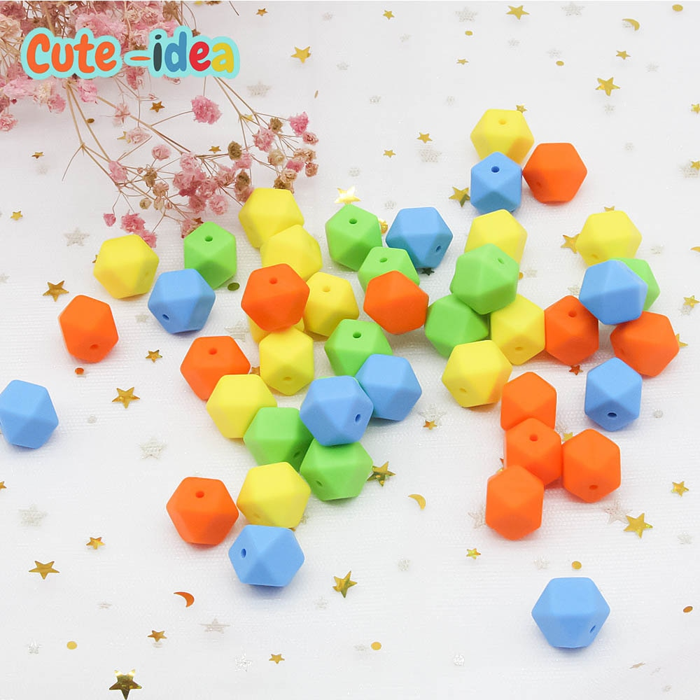 Cute-idea 300pcs Hexagon Silicone Beads Teething 17mm Baby Biting Bead Teeth Necklace DIY Chewable Silicona Denticion Jewelry