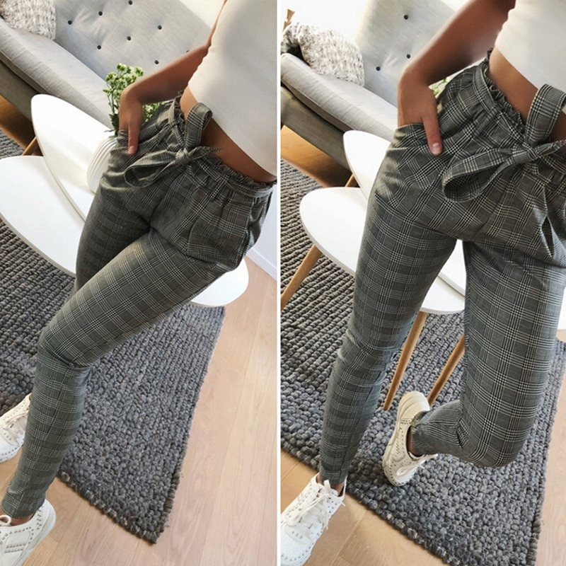 2021 Hot Sale Striped OL Chiffon High Waist Harem Pants Women stringy selvedge Summer Style Casual Female Trousers