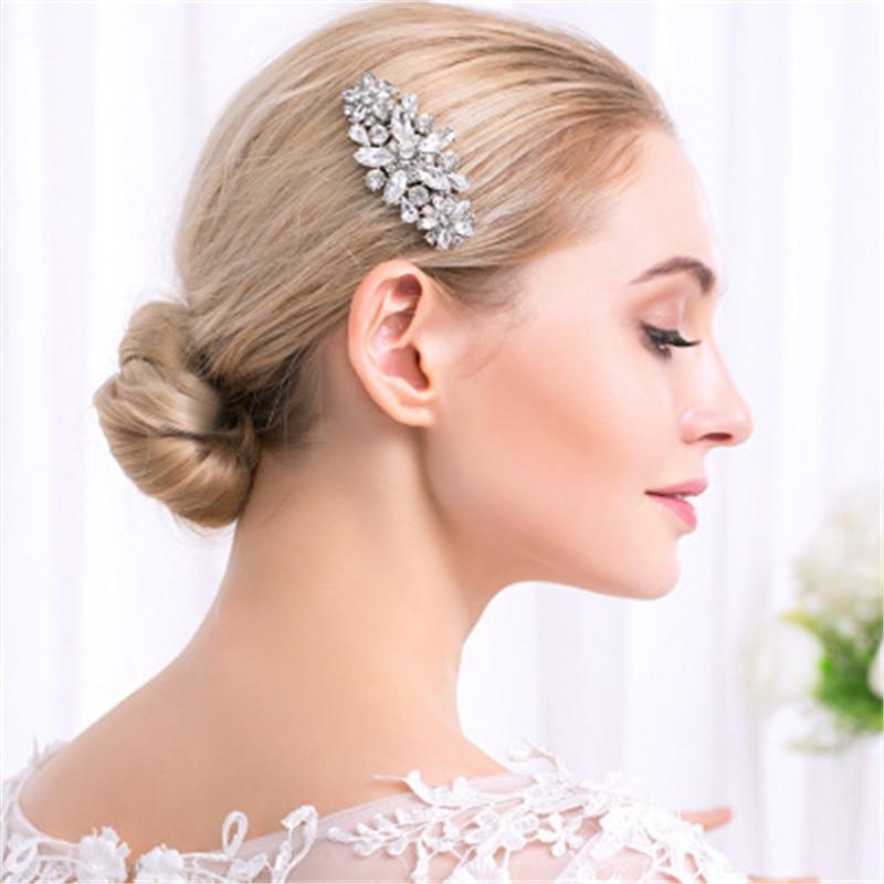Peinetas de pelo de boda de cristal de novia de Plata a la moda, accesorios de joyería, peineta para el cabello con tocado de flores de estrás hecha a mano elegante