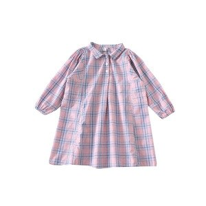 WLG Girls Dresses Kids Turn Down Collar Long Sleeve Plaid Pink Dress Baby Girl Casual All Match Dress for 1-5 Years
