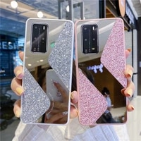 luxury glitter phone case for huawei p30 p40 mate 30 honor 10 lite 30 8x 9x pro 8a 9a y9 prime 2019 p smart 2019 mirror cover