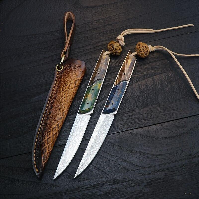 سكين جيب فولاذي ثابت ، d2 ، دمشق ، حاد ، سكاكين تكتيكية خارجية ، سكاكين صيد للتخييم
