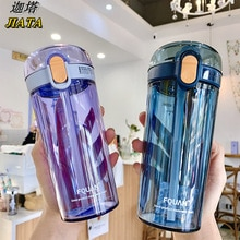 Children's Cartoon Large-capacity Plastic Water Cup with Scale Adult Fitness Sports Pure Color Sippy Cup Kids Water Bottle