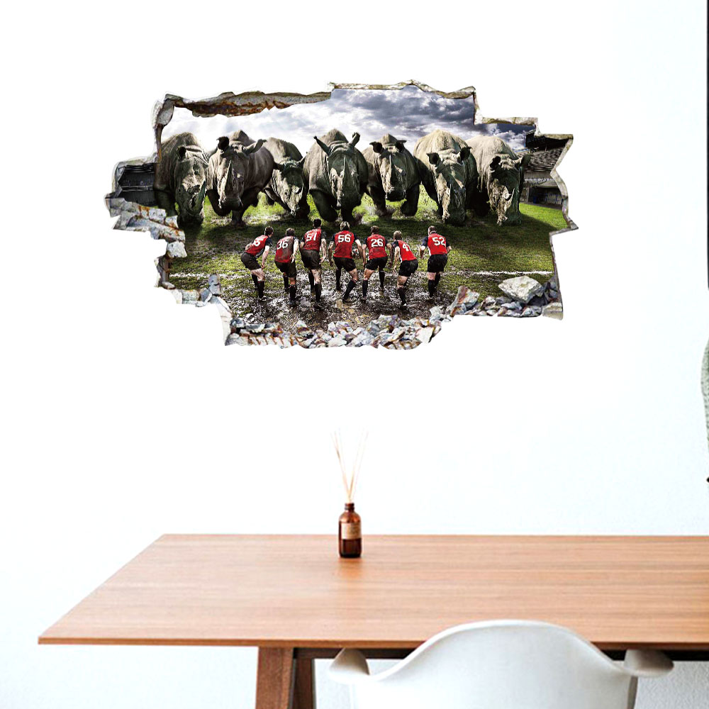 3d parede-quebrando jogador rinoceronte personalidade criativa decorativo adesivo de parede removível sala de estar fundo adesivo de parede