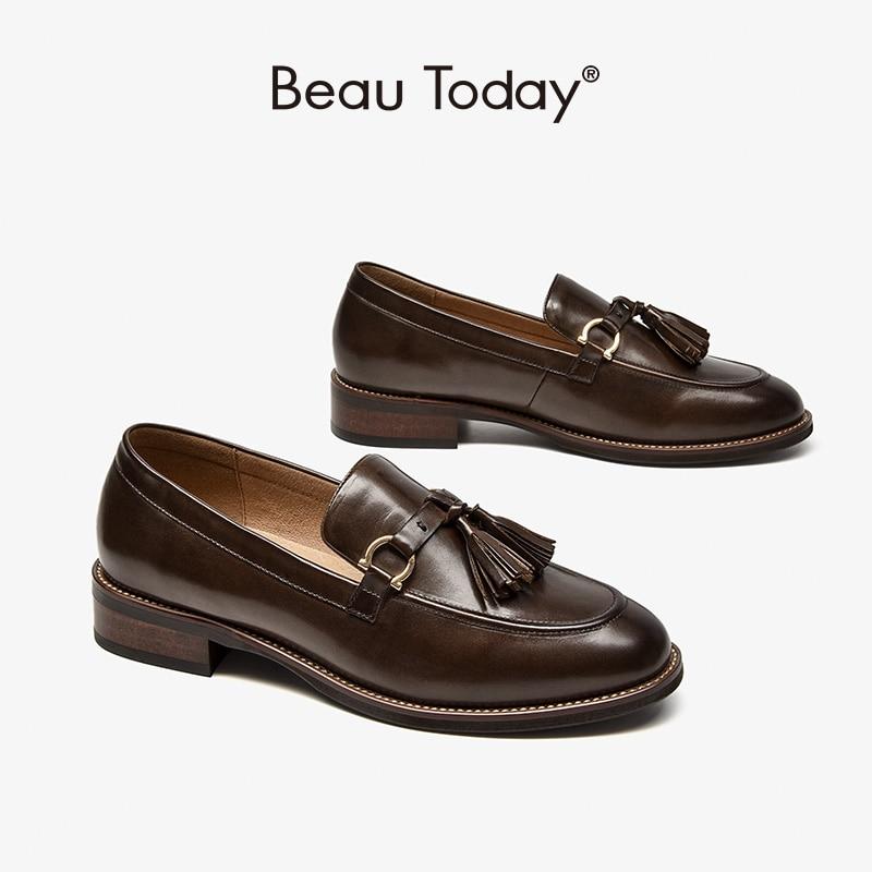 BeauToday-حذاء موكاسين نسائي من جلد البقر بمقدمة مستديرة ، حذاء مسطح سهل الارتداء ، صناعة يدوية ، موضة ربيع 27418