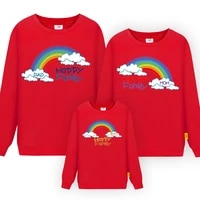 2021 new family matching clothing cartoon rainbow print long sleeve sweater mom dad and kids outfits autumn hoodie family looks