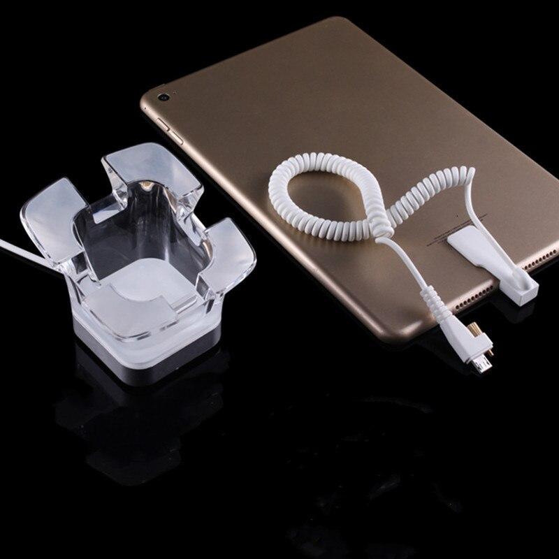 (6 Set/Lot) Glassy Acrylic Anti Theft Tablet Retail Store Desktop Live Display Alarm Charging Sensor Base Holder
