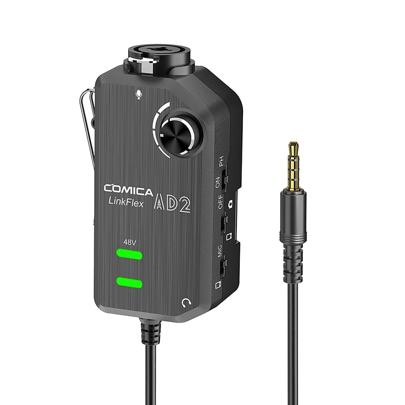 Comica LINKFLEX.AD2 XLR/6,35mm, mit 48V Phantom Power, Echtzeit-Monitor, XLR/Gitarre Interface Adapter für iPhone, iPad,Mac/P
