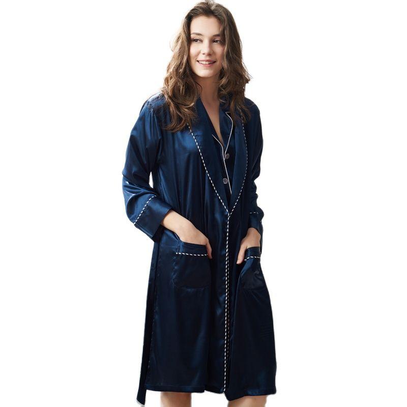 رداء نوم مثير من الحرير الصناعي للنساء ، ملابس نوم بأكمام طويلة ، أزرق داكن ، كيمونو حريري أنيق ، X2823