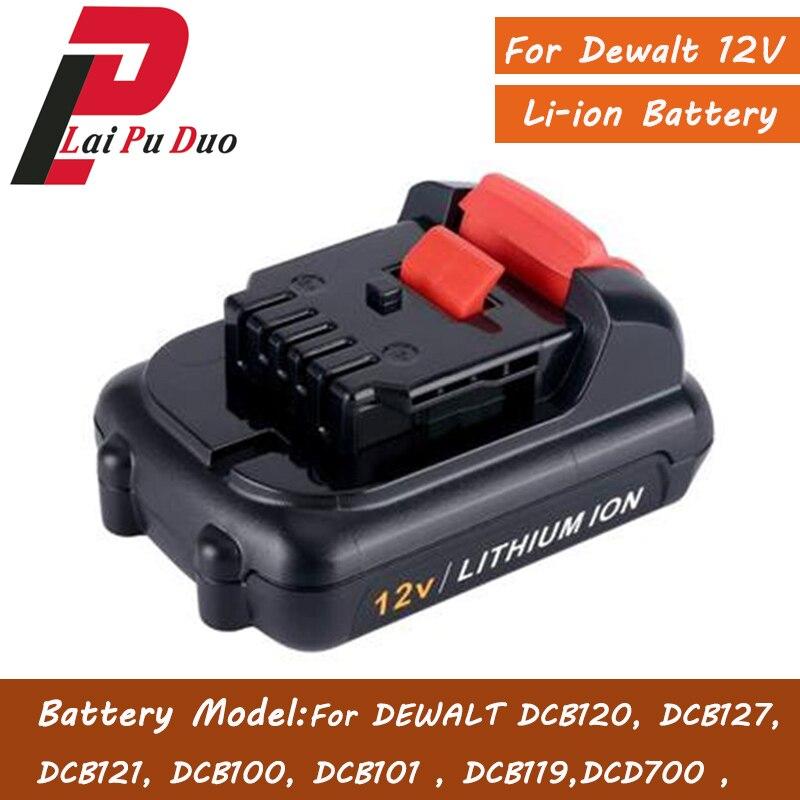 Powtre DCB120 para Dewalt batería 2.0AH Li-ion recargable DCD700,DCB100,DCT410S1,DCT414S1,DCL510,DCF610,DCF610S2,DCD710