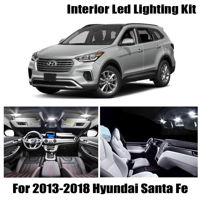 Bombilla blanca de 9 Uds., Kit Interior de luz LED para coche para Hyundai Santa Fe 2013-2018, lámpara para guantera y Domo