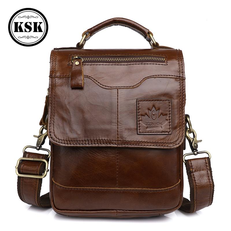 الرجال حقيبة جلدية أصلية حقيبة ساعي حقائب كتف للرجال حقيبة يد فاخرة 2019 الأزياء رفرف الذكور الكتف Crossbody أكياس KSK
