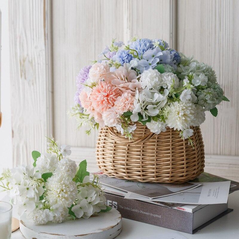 CN Artificial Flowers Hydrangea Bouquet Home Wedding Decor Autum Silk Plastic Glower Fake Flower Party Room Decoratin/