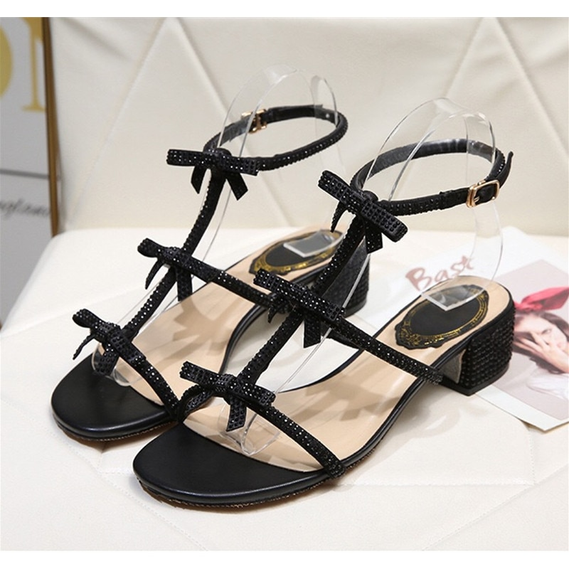 Womens Sandals Heatshoes RC Diamond Ladies Sandal Fashion Style Bowknot Mid-heel Designer Flat Roman Shoes High Heels Slippers enlarge