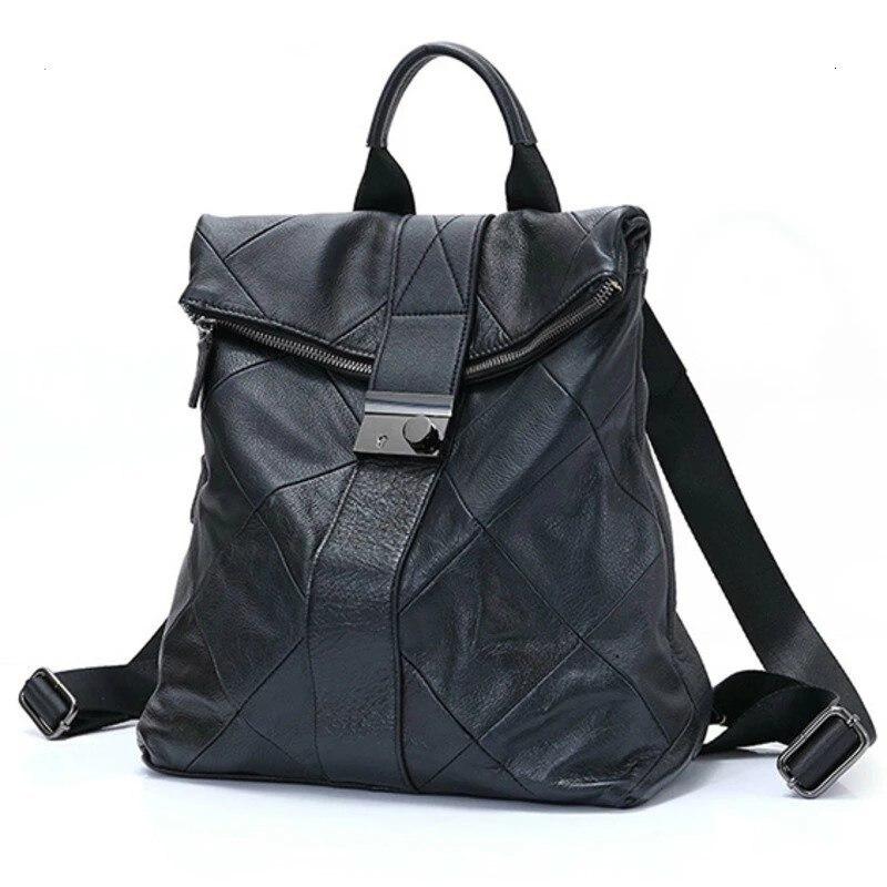 حقائب ظهر للنساء من الجلد ضد السرقة حقائب مدرسية للطلاب في سن المراهقة حقيبة ظهر سوداء حقائب ظهر للنساء بقفل بري