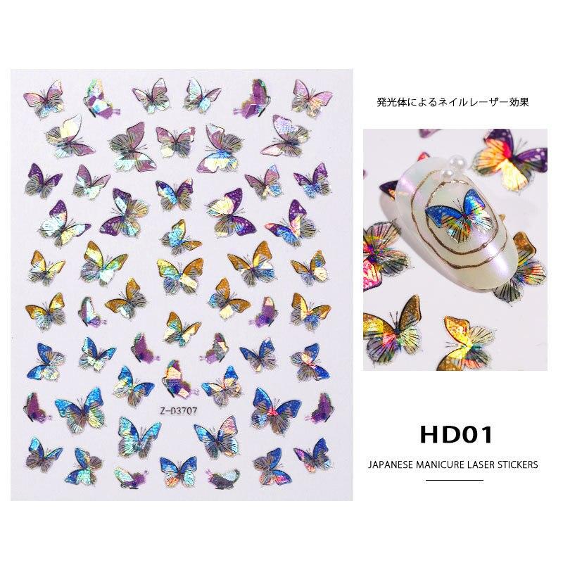 1 unidad de pegatinas de mariposa de Color láser para decoración de uñas, pegatinas 3D para uñas, diseños de mariposas, decoración para manicura de uñas