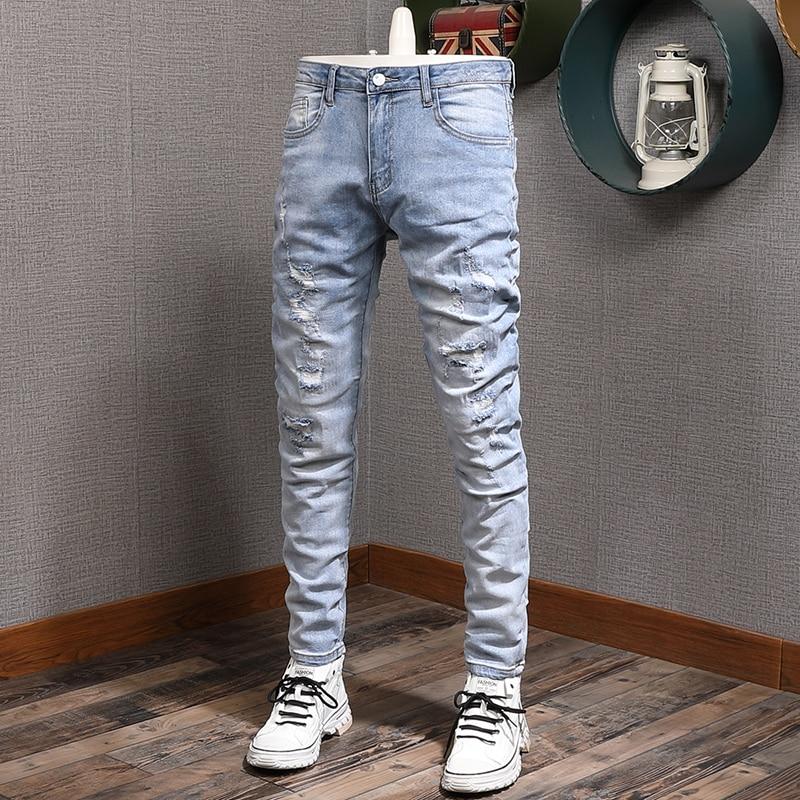 Модные мужские джинсы в Корейском стиле, Ретро светло-голубые эластичные облегающие рваные джинсы, Мужская Уличная одежда, джинсовые брюки-...