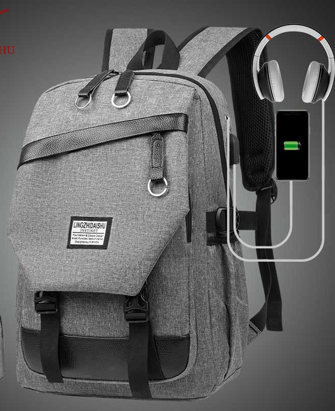 Men's Backpack Wear-resistant Student Leisure Large-capacity Travel Outdoor Mountaineering Bag with USB Charging Port