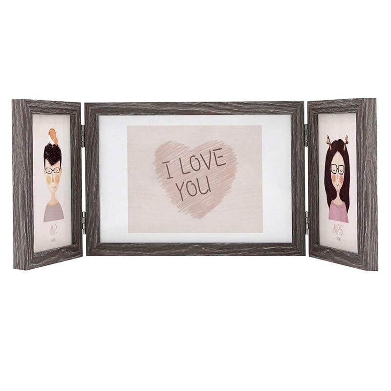 5x7 y 4x6 marcos de fotos triples con bisagras de madera para mesa, regalos únicos de boda, Motherx