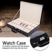 24 grille montre rangement valise cuir PU grand espace montre mallette de rangement avec clé pour montre Sorage boîte outils