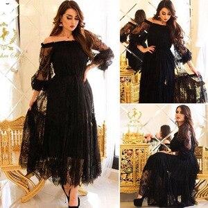 New Arrival Black Lace Evening dresses Arabic evening dress short robe soiree dubai Arabic Evening dress Party