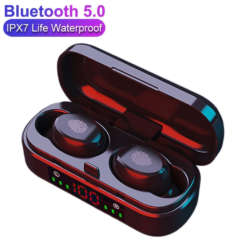 V8 TWS Wireless Bluetooth Earphones 9D Bass Stereo Headphones Waterproof Sports Earbuds Headset Blue