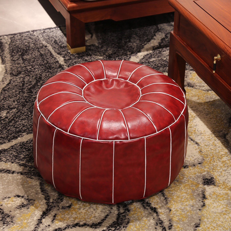 Moroccan Style Futon Imported Oil Wax Cowhide Seat Pier Mandala Embroidered Leather Pier Carpet Living Room Decoration Tatami pier paolo pasolini freibeuterschriften