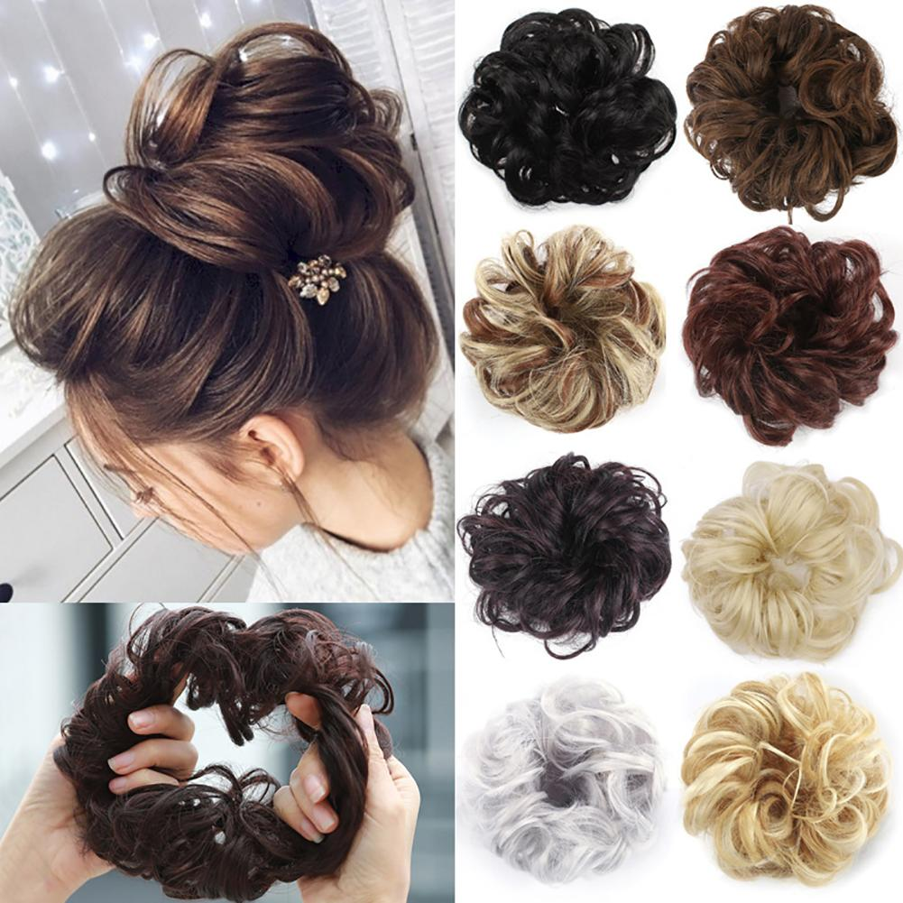 Peluca rizada de fibra sintética Chignon, extensión de pelo falso, peluca para mujer, de alta temperatura Seda, peluca, Anillo para el cabello, accesorio para el cabello