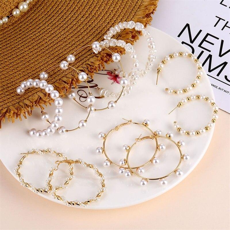 IFMIA 2020 tendencia perla simulada pendientes femeninos de aro largos perla redonda blanca pendiente de boda Nueva joyería Coreana de moda