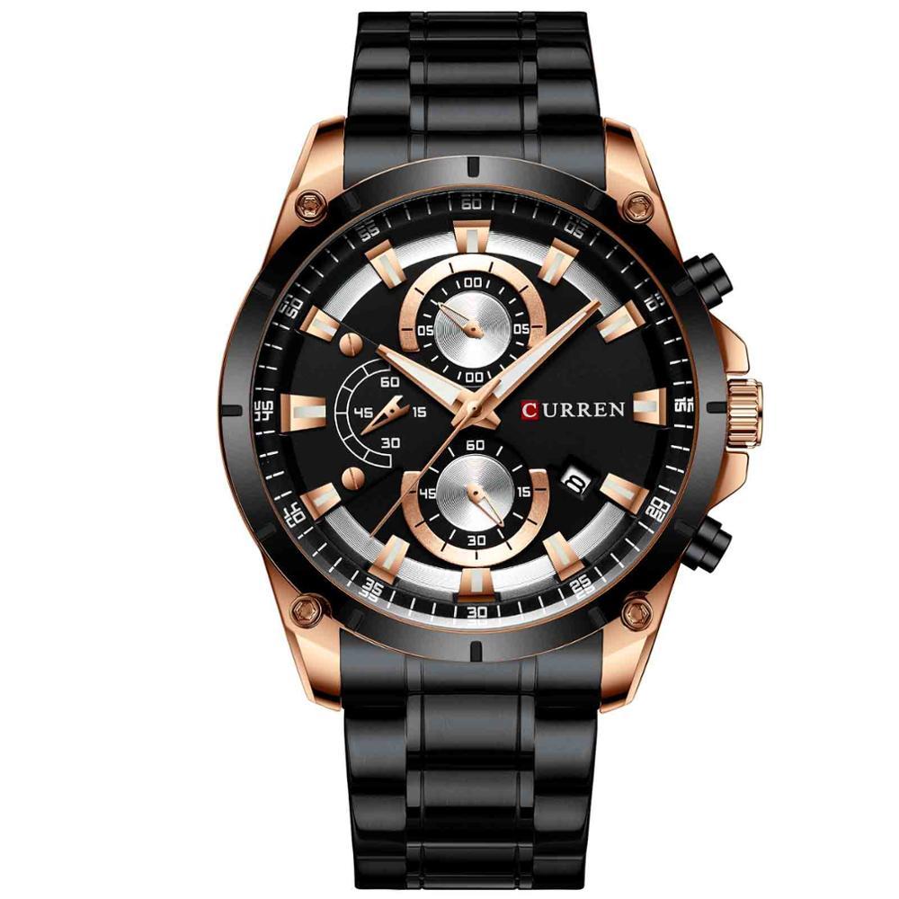 Curren 8360 marca de luxo relógio masculino quartzo relógio de pulso cronógrafo moda casual com aço preto erkek kol saati